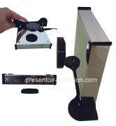presentoir-levitation-socle-chrome-inoxydable-miroir-4-leds-M007B-S