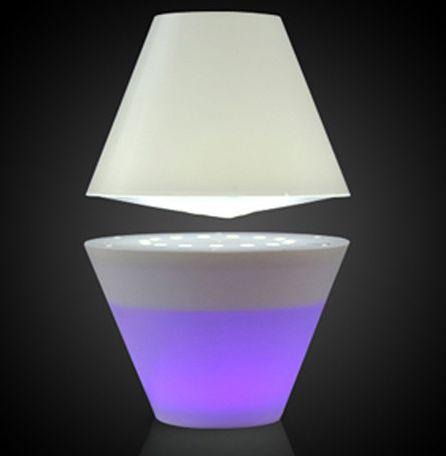lampe design - lampe à lévitation avec abat-jour éclairé par la base
