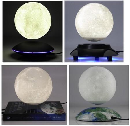 globe lévitation magnétique - présentoir à lévitation faisant flotter la lune sur base éclairée par leds