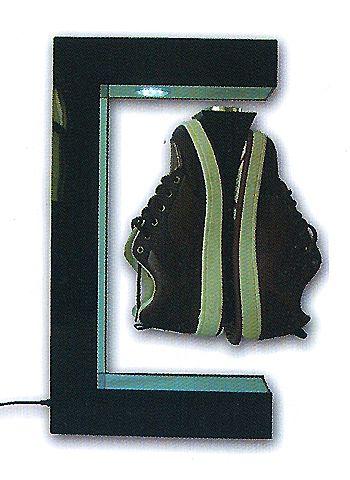 présentoir de magasin - présentoir à lévitation à simple embase par le haut avec éclairage au sommet pour chaussures