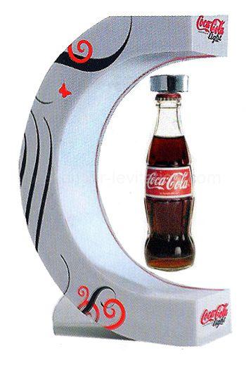 présentoir de comptoir - présentoir à lévitation à simple suspension par le haut pour une marque de soda