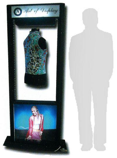 présentoir sur pied - présentoir à lévitation pour mode avec affichage publicité dans la partie basse et logo dans la partie haute