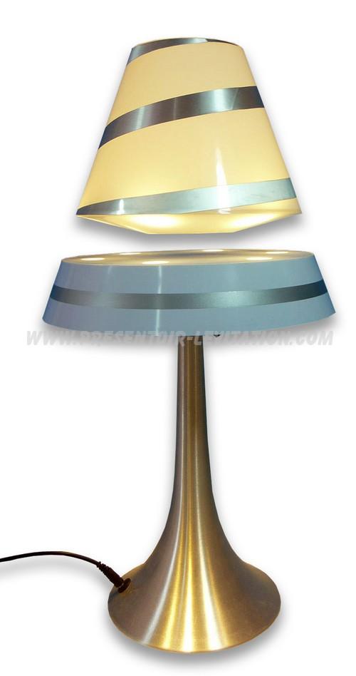 lampe design - présentoir à lévitation avec abat-jour flottant sur la base