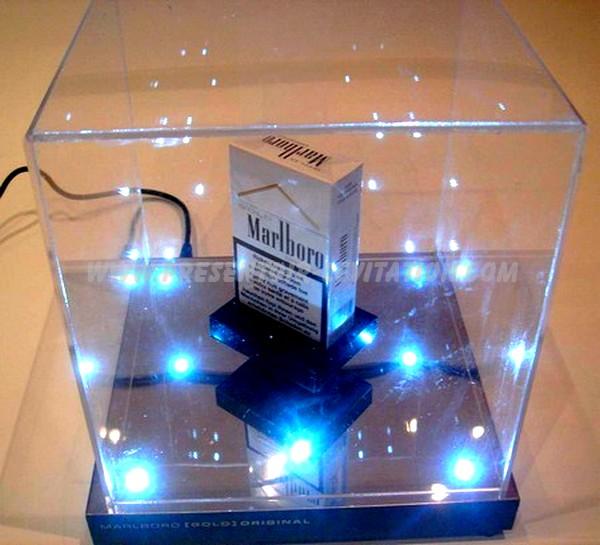 présentoir de magasin à lévitation - support par la base de paquet avec éclairage par led