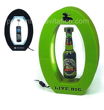 plv comptoir - présentoir à lévitation, présentoir ovale, éclairé par LED et imprimé - 29 X 10 X 38 cm