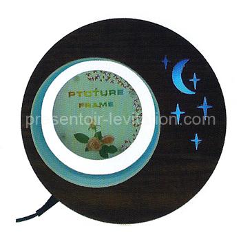 plv magasin - présentoir lévitation photo en forme de croissant de lune - dimensions du tirage: Ø 7.6 cm