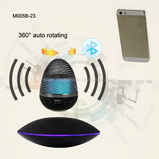 haut parleur flottant vue de la base du module sonore rotatif avec liaison bluetooth