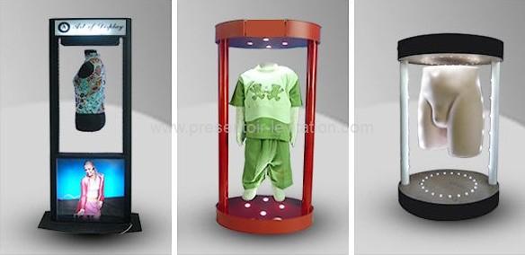 présentoir publicitaire - modèles à lévitation pour la mode, mannequins flottant dans un cylindre éclairé à la base par des leds