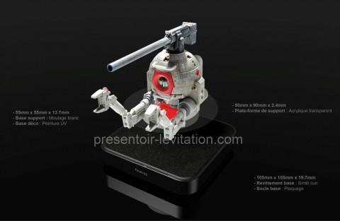 présentoir plv lévitation : robot sur base magnétique