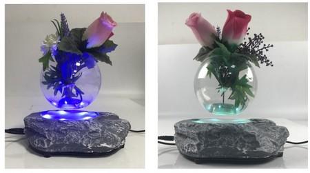 présentoir publicitaire - vase de fleurs en lévitation, base rocher avec éclairage par leds