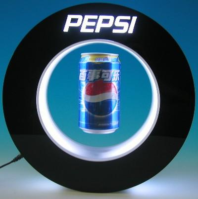 présentoir design - présentoir lévitation en forme de cercle avec canette flottant au milieu et éclairage par led