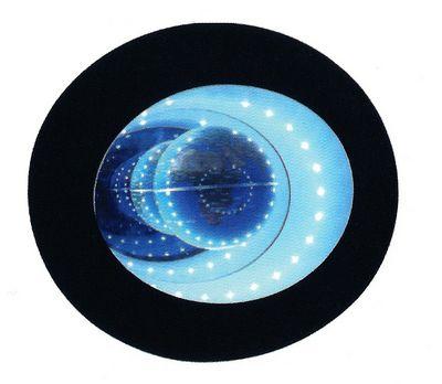 présentoir design : présentoir à lévitation avec globe terrestre éclairé par des leds et effet miroir