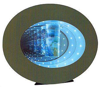 présentoir comptoir - présentoir à lévitation pour photo avec effet miroir éclairé par des leds